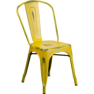 Brimmes Distressed Yellow Metal Stackable Chair for Patio/Bar/Restaurant