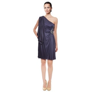 Marc Bouwer Slinky Asymmetric Draped Rhinestone Fitted Evening Dress - 4