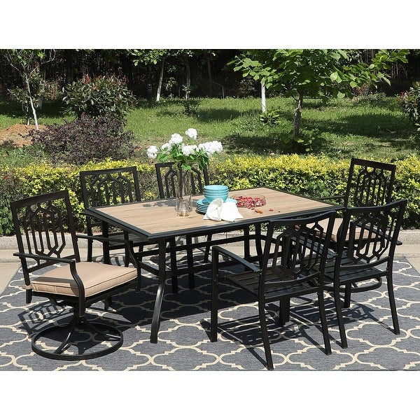 Sophia & William 7 Pieces Patio Dining Set with 2 Swivel Garden Chairs with Cushion, 4 Steel Chairs, 1 Rectangle Table. Opens flyout.