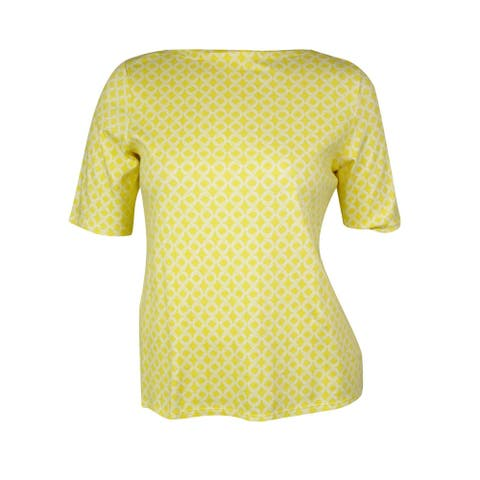 Charter Club Women's Printed Half Sleeves Bateau Top