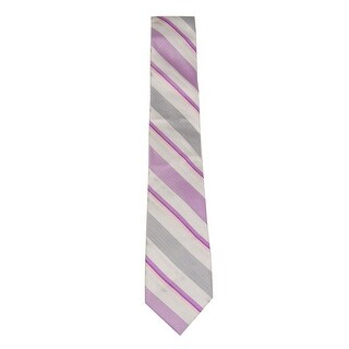 Calvin Klein Men's Bianco Multi Stripe Slim Tie (Fuschia, OS) - Fuschia - os