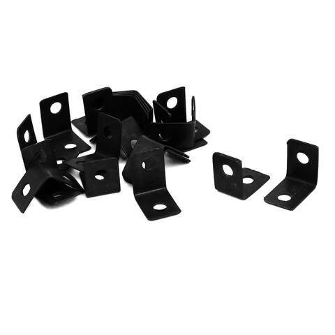 20 Pcs 12x9x12mm L-Shaped 90 Degree Angle Bracket Corner Braces Black