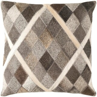 "18"" Cedar Brown and Horizon Gray Herd Raw Hide Decorative Throw Pillow"