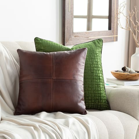 Mohan Leather Dark Brown Down or Poly Filled Throw Pillow 20-inch
