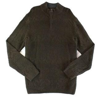 Tasso Elba NEW Brown Mens Size Small S Quarter Zip Textured Sweater