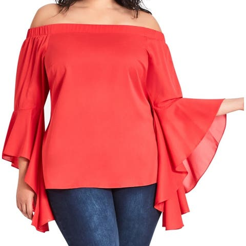 City Chic Women's Blouse Red Size 24W Plus Off Shoulder Romantic Sleeve