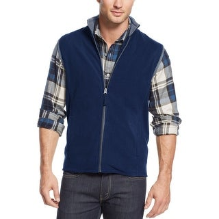 Club Room Full Zip Polar Fleece Mock Neck Vest Navy Blue Combo Large L