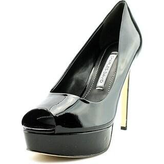 Charles David Nivia Women Peep-Toe Patent Leather Black Heels