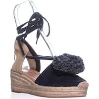 Kate Spade New York Lafayette Platform Sandals, Navy Kid Suede