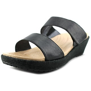Crocs A-Leigh 2-Strap Mini Wedge Open Toe Leather Wedge Sandal