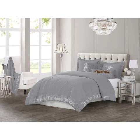 Juicy Couture Gothic 3 Piece Comforter Set, King, Grey