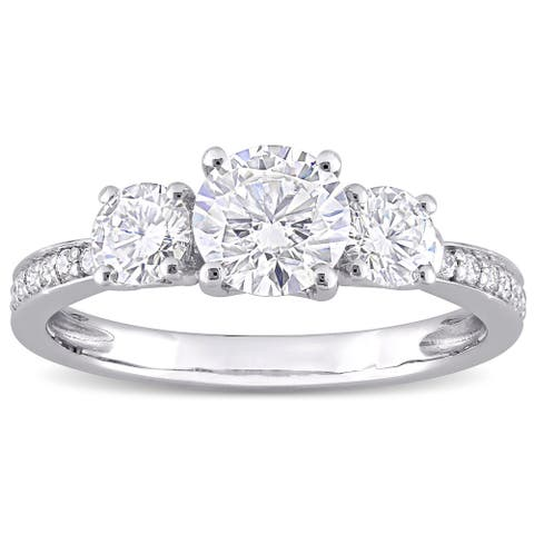 Miadora 1 3/8ct DEW Moissanite 3-Stone Engagement Ring in 10k White Gold