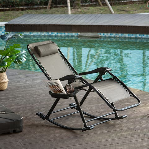 Outsunny Zero Gravity Reclining Lounge Chair Patio Folding Rocker w/Side Tray Slot Backrest Pillow Cup Phone Holder Grey