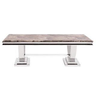 """Howard Elliott Stainless Steel Coffee Table with Stone Top 51"""" Wide Stone Top Coffee Table"""