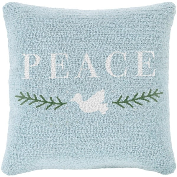 """18"""" Icy Blue and Snowy White """"PEACE"""" Decorative Winter Holiday Throw Pillow –Down Filler"""