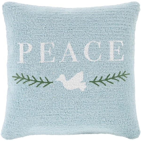 """18"""" Icy Blue and Snowy White """"PEACE"""" Decorative Winter Holiday Throw Pillow"""