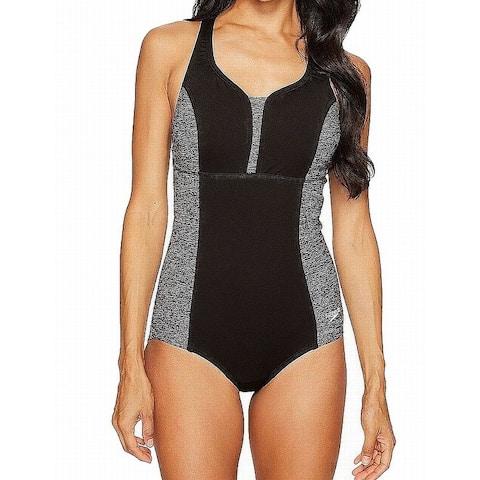 Speedo Gray Women's Size 16 One-Piece Colorblock Cutout Swimwear