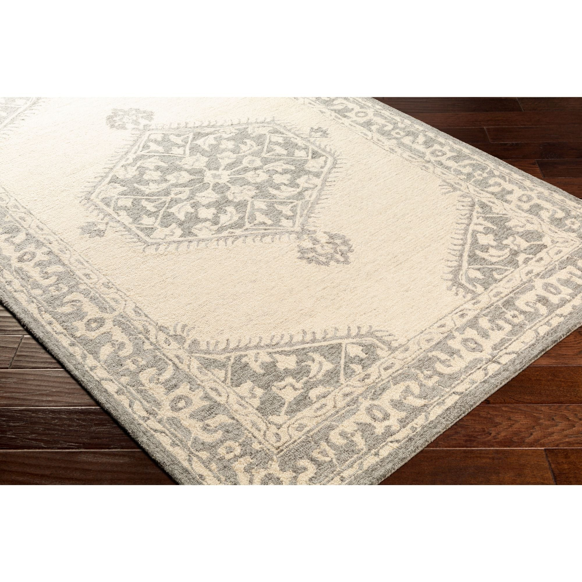 9 X 12 Traditional Style Charcoal Gray And Beige Rectangular Area Throw Rug Overstock 29565409