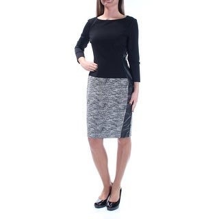 Womens Black 3/4 Sleeve Above The Knee Drop Waist Wear To Work Dress Size: Size 0