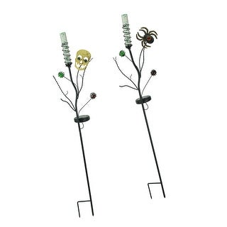 Set of 2 Solar Powered Halloween Skull and Spider LED Light Garden Stakes - Multicolored