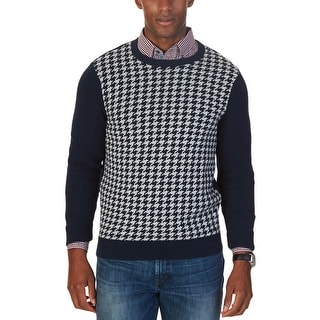 Nautica Mens Pullover Sweater Ribbed Trim Houndstooth Inset