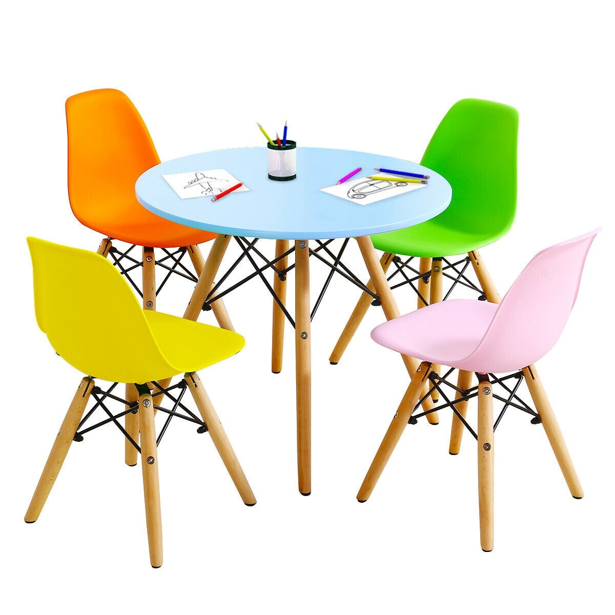 Picture of: Gymax 5 Pc Kids Colorful Round Table Chair Set W 4 Armless Chairs Overstock 28585948