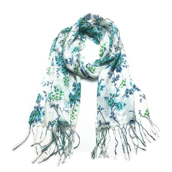 Women's Fashion Floral Soft Wraps Scarves - F1 Teal - Large. Opens flyout.