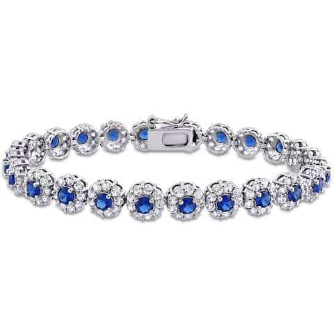 11-1/3ct TGW Created Blue and White Sapphire Halo Floral Tennis Bracelet in Sterling Silver by Miadora - 7 in x 7.5 mm x 3 mm