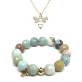 "Julieta Jewelry Set 12mm Green Amazonite Lauren 7"" Stretch Bracelet & 12mm Bee Charm 16"" 14k Over .925 SS Necklace"