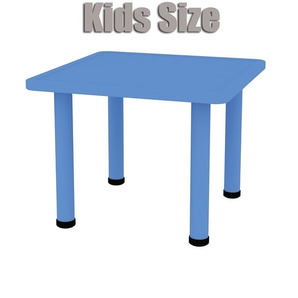 2xhome Adjustable Height Kids Plastic Activity Table Metal Leg Square Desk Dining Bedroom Kitchen Toddler Child Preschool Blue
