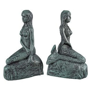 Cast Iron Mermaid Bookends Verdigris Finish - Blue