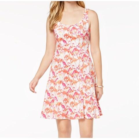 Pappagallo Pink Flamingo Print Women's Size 16 Flare A-Line Dress