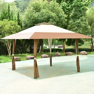 Costway 13u0027x13u0027 Folding Gazebo Canopy Shelter Awning Tent Patio Garden Outdoor Companion : outdoor canopy tents - memphite.com