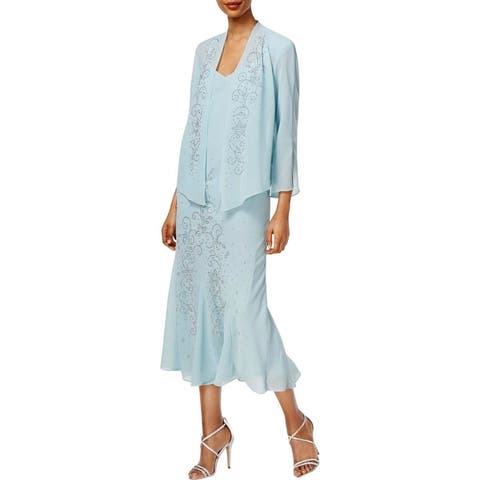 R&M Richards Womens Dress With Jacket Chiffon Sleeveless