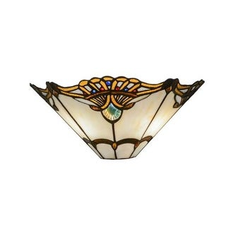 """Meyda Tiffany 144020 Shell with Jewels 2 Light 14.5"""" Wide Hand-Crafted Wall Sconce with Stained Glass - multi- colored"""