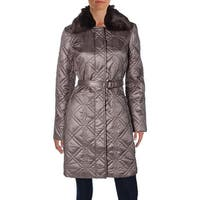 Dress Barn Womens Coat Quilted Faux Fur