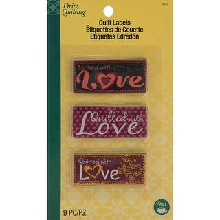 Dritz Quilting Sew-In Embroidered Labels 9/Pkg-Quilted With Love