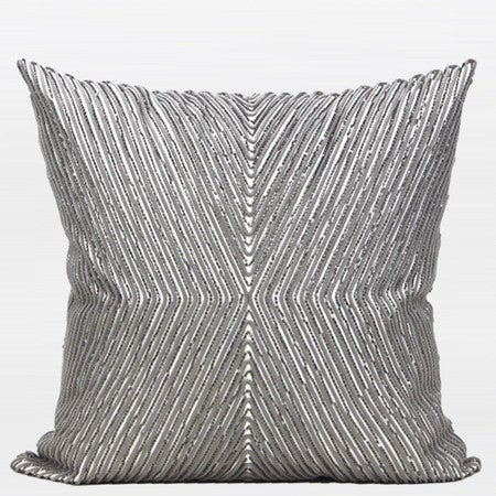 "G Home Collection Luxury Gray Handmade X Shape Textured Beaded Pillow 20""X20"""