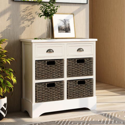 White Cabinet with 2 Drawers and 4 Basket