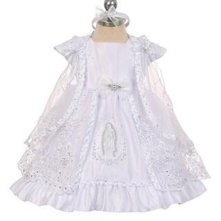 The Rain Kids Baby Girls White Virgin Mary Embroidery Cape Baptism Dress 0-24M