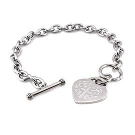 Stainless Steel Heart Embrossed Cross Charm Toggle Bracelet - 7.5 Inches