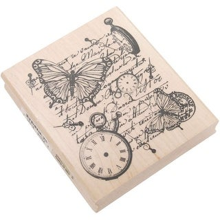 "Inkadinkado Mounted Rubber Stamp 3.5""X4""-Time Flies Collage"