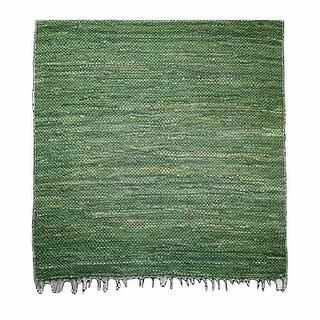 Rectangular Area Rug 6' x 4' Green Cotton