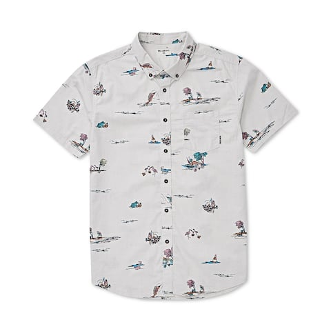 Billabong Mens Shirt White Ivory Size Small S Button Down Short-Sleeve