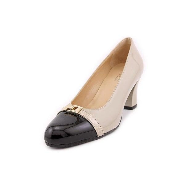 Amalfi By Rangoni Dana Women Round Toe Patent Leather Ivory Heels