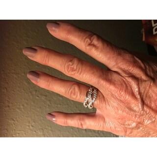 Miadora Sterling Silver Cubic Zirconia Criss-cross Multi-row Ring