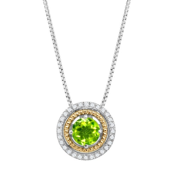 1 ct Peridot Circle Pendant with Diamonds in Sterling Silver & 14K Gold