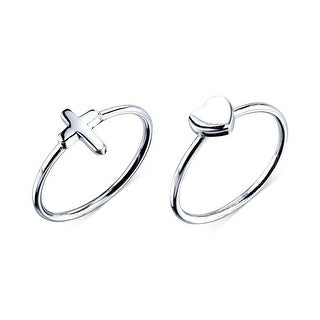 Macys Unwritten Cross and Heart Ring Set In Sterling Silver