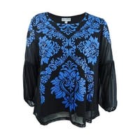 JM Collection Women's Plus Size Embroidered Mesh Top - Blue Puff Medal - 2X