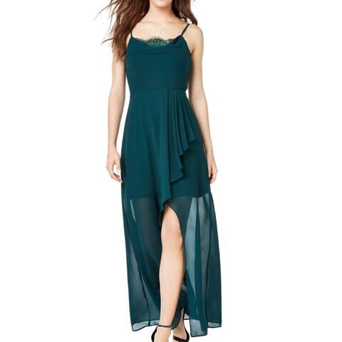 City Studio Dress Green Size 0 Junior A-Line Chiffon Lace Inset Maxi